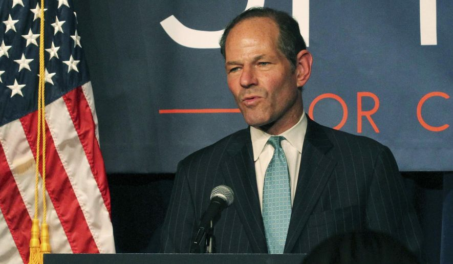 FILE - In this Sept. 10, 2013, file photo, former New York Gov. Eliot Spitzer delivers his concession speech at his election night party after losing the Democratic primary race for New York City comptroller in New York. A Russian woman who was accused of blackmailing Spitzer is seeking to lift a court-mandated gag order so she can talk about what she says are Spitzer's fetishes. The New York Post reports Svetlana Zakharova filed papers in Manhattan state Supreme Court seeking to lift the gag order imposed as part of her prosecution. (AP Photo/Tina Fineberg, File)