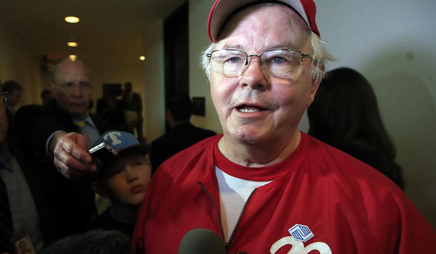 FILE - In this June 14, 2017, file photo, Rep. Joe Barton, R-Texas, speaks to reporters on Capitol Hill in Washington, about the incident where House Majority Whip Steve Scalise of La., and others, were shot during a Congressional baseball practice. Kelly Canon, a tea party organizer in the Dallas suburb of Arlington, released a series of Facebook Messenger conversations with Barton from 2012 in which he asked things like if she was wearing panties. First reported by the Fort Worth StarTelegram on Wednesday, Nov. 29, 2017, the revelation comes a week after Barton apologized for a nude photo of him that circulated on social media. (AP Photo/Manuel Balce Ceneta, File)