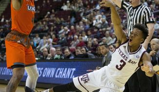 Texas A&M guard Admon Gilder (3) is fouled by Texas-Rio Grande Valley guard Nick Dixon (4) during the first half of an NCAA college basketball game Thursday, Nov. 30, 2017, in College Station, Texas. (AP Photo/Sam Craft)