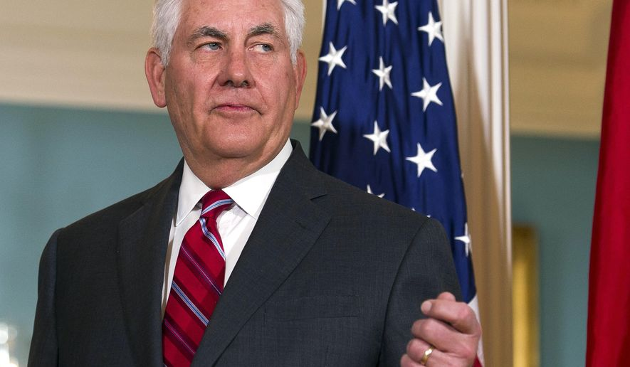 Secretary of State Rex Tillerson answers a reporters question about North Korea while he meets with German Foreign Minister Sigmar Gabriel at the State Department in Washington, Thursday, Nov. 30, 2017. The White House is discussing a plan to replace Secretary of State Rex Tillerson with CIA director Mike Pompeo, according to an administration official, who sought anonymity to discuss internal thinking.  (AP Photo/Cliff Owen)