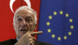 "Gilles de Kerchove, the European Union's counter-terrorism coordinator, speaks during an interview with the Associated Press in Ankara, Turkey, Tuesday, Nov. 28, 2017. De Kerchove says the loss of its so-called ""caliphate"" will cripple the Islamic State group but the threat from the extremists is not over yet. (AP Photo/Burhan Ozbilici)"