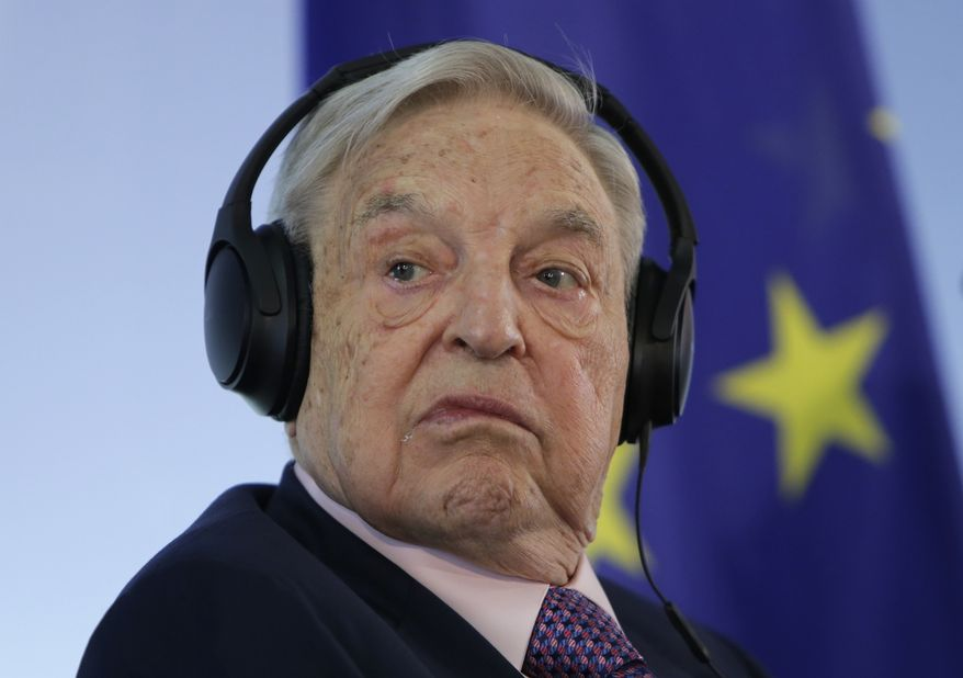 In this June 8, 2017, file photo Hungarian-American investor George Soros attends a press conference prior to the launch event for the European Roma Institute for Arts and Culture at the Foreign Ministry in Berlin, Germany. (AP Photo/Ferdinand Ostrop, file)