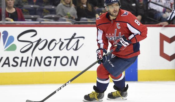 Washington Capitals left wing Alex Ovechkin (8), of Russia, skates with the puck during the first period of an NHL hockey game against the Los Angeles Kings, Thursday, Nov. 30, 2017, in Washington. (AP Photo/Nick Wass)
