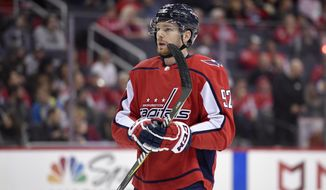 Washington Capitals center Evgeny Kuznetsov (92), of Russia, looks on during the first period of an NHL hockey game against the Los Angeles Kings, Thursday, Nov. 30, 2017, in Washington. (AP Photo/Nick Wass)