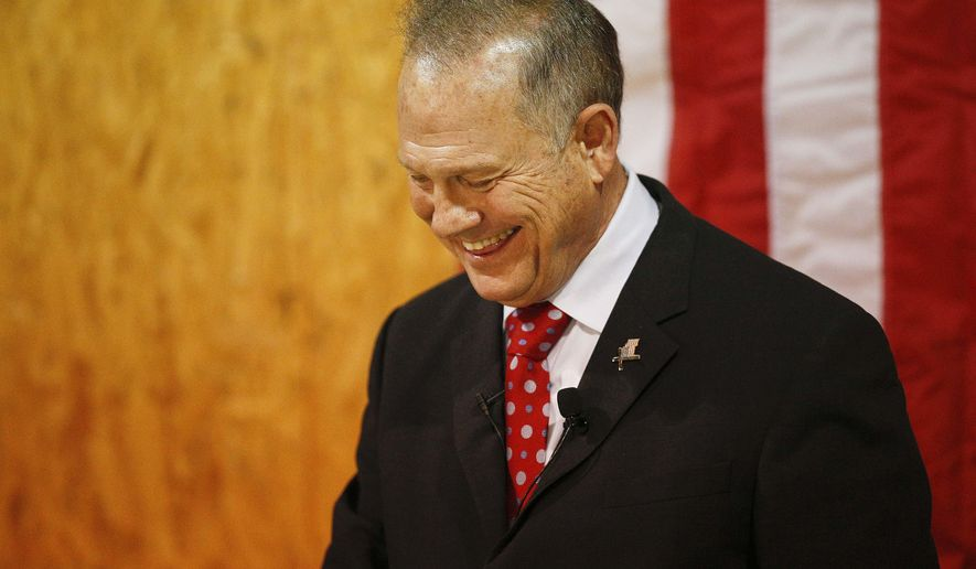 Former Alabama Chief Justice and U.S. Senate candidate Roy Moore speaks at a campaign rally, Thursday, Nov. 30, 2017, in Dora, Ala. (AP Photo/Brynn Anderson)