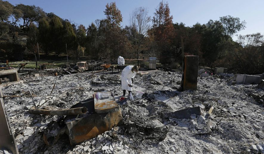 FILE - In this Tuesday, Oct. 31, 2017 file photo, Shelly Rust, foreground, and her husband David search through the remains of their home destroyed by wildfires in Santa Rosa, Calif. California's 53 U.S. House members requested $4.4 billion in federal aid Friday, Dec. 1, 2017, to help the state recover from its deadliest wildfires ever. (AP Photo/Jeff Chiu, File)