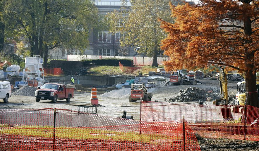 Updated construction photos of the Mirror Lake district on the Ohio State University campus on Nov.14, 2017. (Kyle Robertson/The Columbus Dispatch via AP)