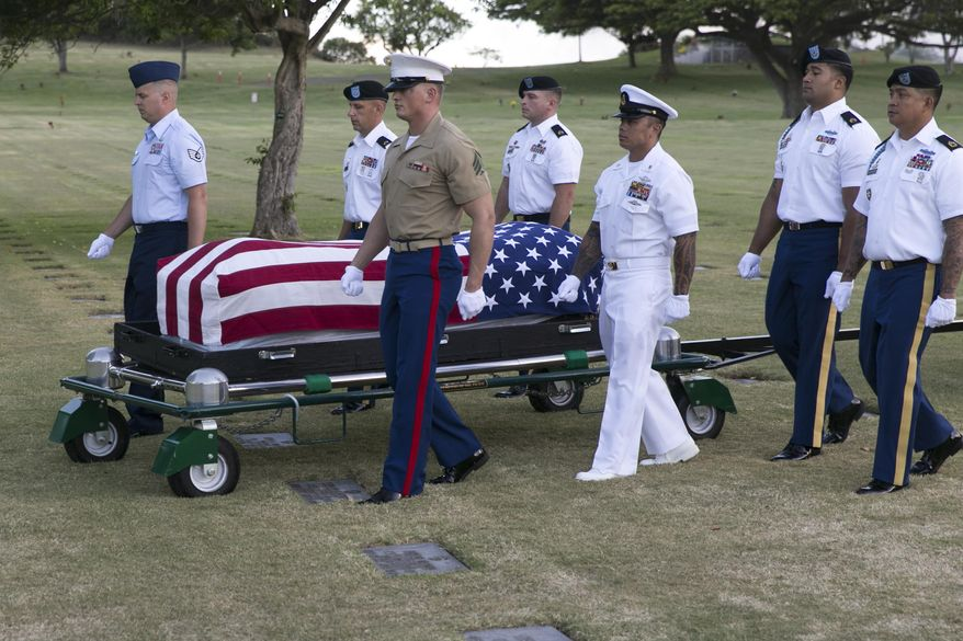 File - In this July 27, 2015 file photo, military pallbearers escort the exhumed remains of unidentified crew members of the USS Oklahoma killed in the 1941 bombing of Pearl Harbor that were disinterred from a gravesite at the National Memorial Cemetery of the Pacific in Honolulu. The military says it has identified 100 sailors and Marines killed when the USS Oklahoma capsized during the Japanese bombing of Pearl Harbor 76 years ago. The milestone comes two years after the Defense POW/MIA Accounting Agency dug up nearly 400 sets of remains from a Hawaii to identify the men who have been classified as missing since the war. (AP Photo/Marco Garcia, File)