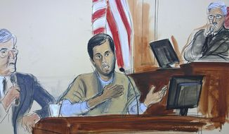 In this courtroom sketch, Turkish-Iranian gold trader Reza Zarrab, center, testifies before Judge Richard Berman, right, that he helped Iran evade U.S. economic sanctions with help from Turkish banker Mehmet Hakan Atilla, Wednesday, Nov. 29, 2017, in New York. At left is an interpreter. (Elizabeth Williams via AP)