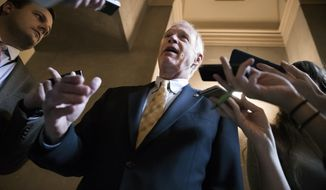 Reporters get an update from Sen. Ron Johnson, R-Wis., a member of the Senate Budget Committee, as Republican senators gather to meet with Majority Leader Mitch McConnell, R-Ky., on the GOP effort to overhaul the tax code, on Capitol Hill in Washington, Friday, Dec. 1, 2017. (AP Photo/J. Scott Applewhite)