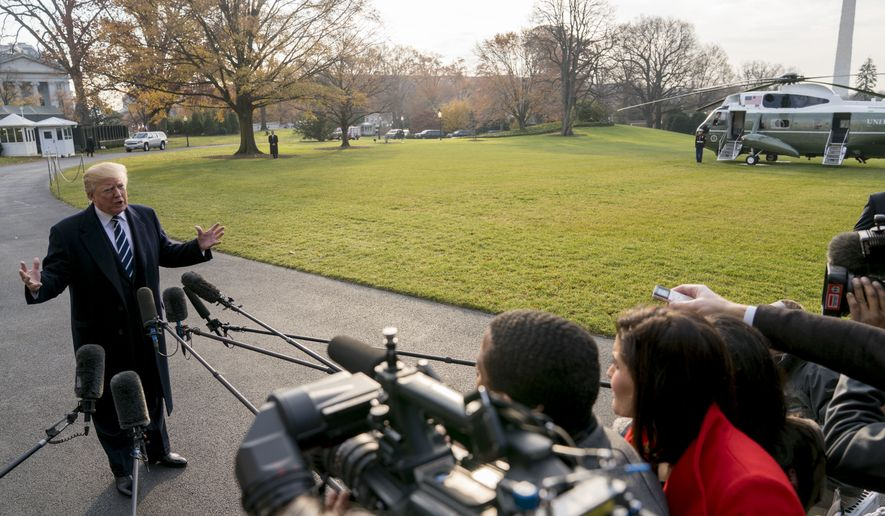 President Donald Trump speaks to members of the media before boarding Marine One at the White House, in Washington.  (AP Photo/Andrew Harnik)