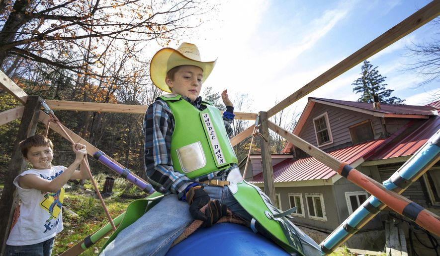 In this Oct. 28, 2017 photo, Shawn Rake, 11, trains on his practice rig with the help of his younger brother, Jason, 9, in Equinunk, Pa. Most 11-year-olds ride bikes. Shawn Rake rides bulls. Competing under the BLM Bull and Rodeo Co. in Virginia, the Equinunk boy started riding miniature bulls in the summer. Although the animals are called miniature, they can weigh more than 800 pounds.(Frank Wilkes Lesnefsky/The Times & Tribune via AP)