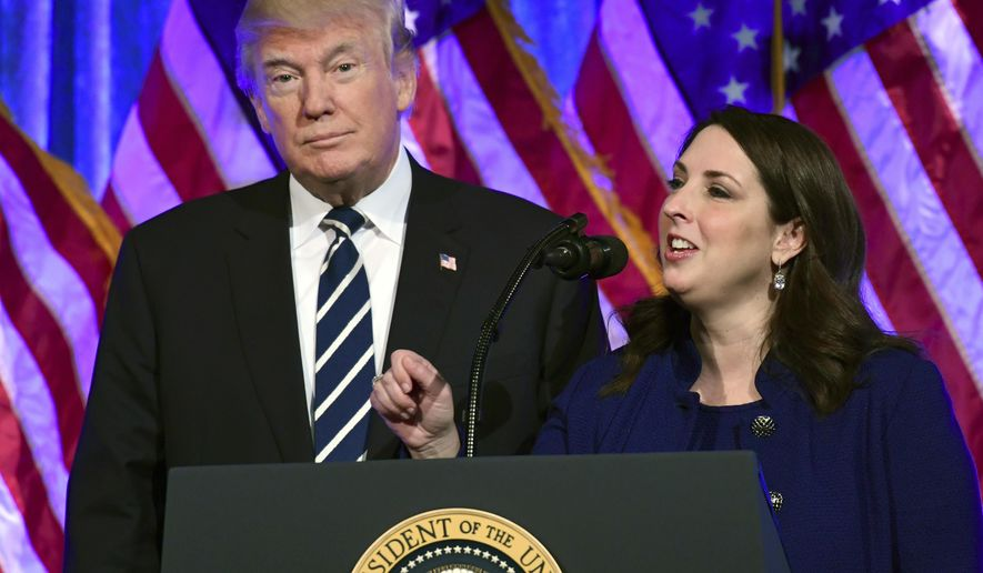 President Donald Trump, left, listens as Republican National Committee chairwoman Ronna Romney McDaniel, right, speaks at a fundraiser at Cipriani in New York, Saturday, Dec. 2, 2017. Trump is attending a trio of fundraisers during his day in New York. (AP Photo/Susan Walsh)