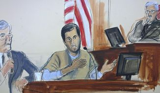 FILE - In this courtroom sketch, Turkish-Iranian gold trader Reza Zarrab, center, testifies before Judge Richard Berman, right, that he helped Iran evade U.S. economic sanctions with help from Turkish banker Mehmet Hakan Atilla, Wednesday, Nov. 29, 2017, in New York. At left is an interpreter.  (Elizabeth Williams via AP)