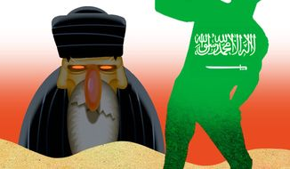 Illustration on Saudi Arabia's efforts to challenge the Iranian regional threat by Alexander Hunter/The Washington Times