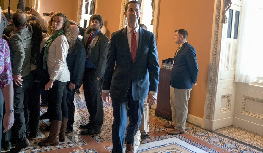 """""""The Obamacare mandate was held by the Supreme Court to be tax. Whatever philosophical positions you may have had before that, that's the law of the land,"""" said Sen. Tom Cotton, Arkansas Republican, who led the effort to undo the individual mandate. (Associated Press)"""