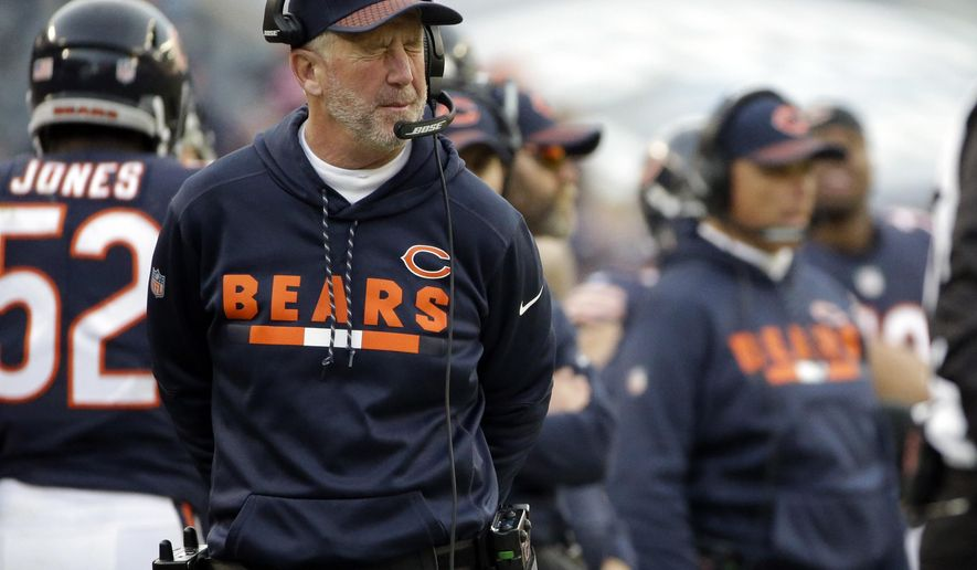 Chicago Bears head coach John Fox reacts as he watches the game during the second half of an NFL football game against the San Francisco 49ers, Sunday, Dec. 3, 2017, in Chicago. (AP Photo/Nam Y. Huh)