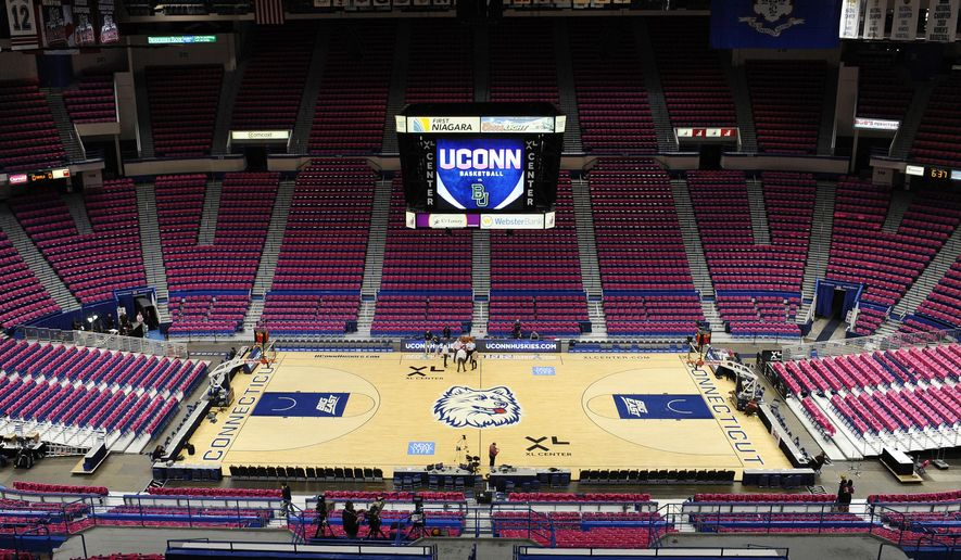 FILE - This Feb. 18, 2013, file photo shows the XL Center arena before an NCAA college basketball game between Connecticut and Baylor in Hartford, Conn. The future of the arena remains uncertain, despite a November 2017 approval of $40 million in state bonding to help fix up the aging venue, which the governor says needs a $250 million overhaul to attract and retain sports teams and acts. (AP Photo/Jessica Hill)
