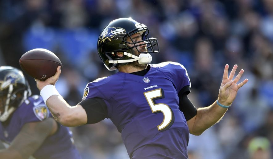 Baltimore Ravens quarterback Joe Flacco throws to a receiver in the first half of an NFL football game against the Detroit Lions, Sunday, Dec. 3, 2017, in Baltimore. (AP Photo/Gail Burton)
