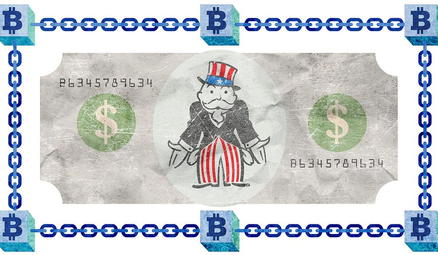 Bitcoin and Government Monopoly Illustration by Greg Groesch/The Washington Times