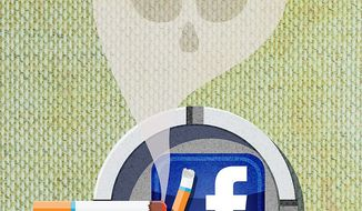 Facebook Addiction Illustration by Greg Groesch/The Washington Times