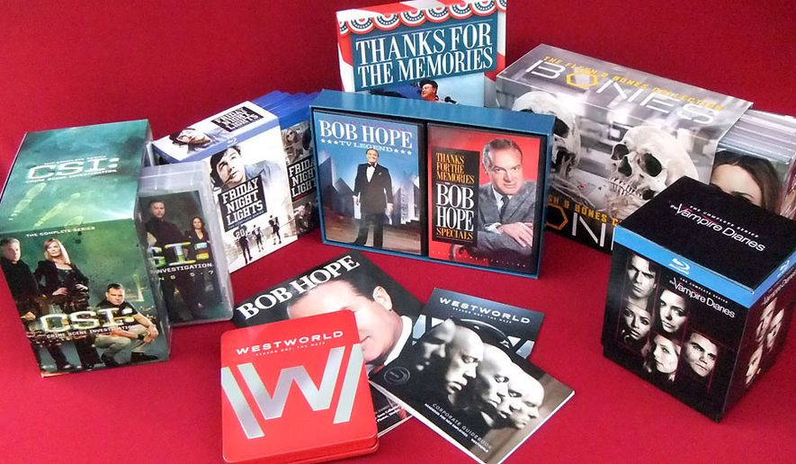 """Gift ideas for television show connoisseurs include """" Thanks for the Memories: The Bob Hope Specials Deluxe Collection,"""" """"Bones: The Flesh and Bones Collection,"""" """"Friday Night Lights: The Complete Series,"""" """"Westworld: Season One, Limited Edition Tin,"""" """"CSI: Crime Scene Investigation: The Complete Series"""" and """"The Vampire Diaries: The Complete Series."""" (Photograph by Joseph Szadkowski / The Washington Times)"""