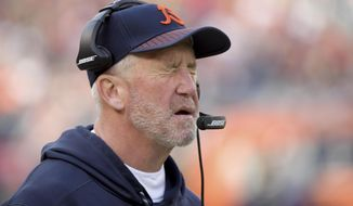 Chicago Bears head coach John Fox reacts during an NFL football game against the San Francisco 49ers in Chicago, Sunday, Dec. 3, 2017. (Mark Black/Daily Herald via AP)