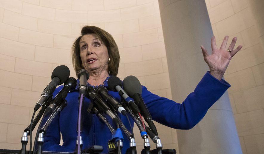 In this Nov. 9, 2017, photo, House Minority Leader Nancy Pelosi, D-Calif., speaks to reporters on Capitol Hill in Washington. (AP Photo/J. Scott Applewhite, File)