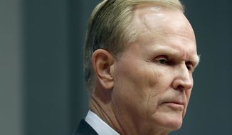John Mara, owner of the New York Giants, speaks to reporters in East Rutherford, N.J., Monday, Dec. 4, 2017.  The Giants made a rare in-season house cleaning, firing coach Ben McAdoo and general manager Jerry Reese on Monday, less than a year after the team made the playoffs for the first time since 2011. (AP Photo/Seth Wenig)