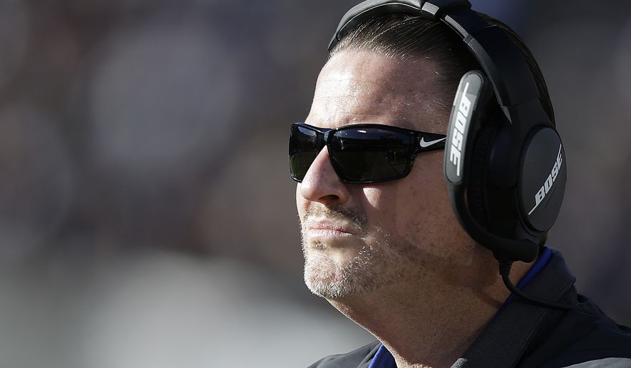 New York Giants head coach Ben McAdoo against the Oakland Raiders during the first half of an NFL football game in Oakland, Calif., Sunday, Dec. 3, 2017. (AP Photo/Ben Margot) **FILE**