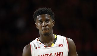 Maryland guard Darryl Morsell walks on the court in the second half of an NCAA college basketball game against Purdue in College Park, Md., Friday, Dec. 1, 2017. (AP Photo/Patrick Semansky) **FILE**
