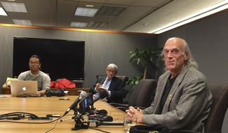 "Former Minnesota Gov. Jesse Ventura speaks with reporters Monday, Dec. 4, 2017 about the settlement of his defamation lawsuit against ""American Sniper"" author Chris Kyle and his estate in Minneapolis, Minn. (AP Photo/Steve Karnowski)"