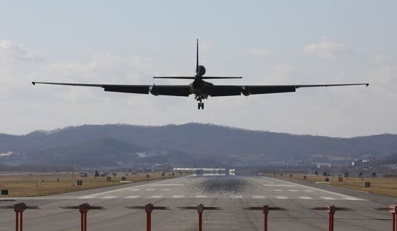 A U.S. Air Force U-2s spy plane prepares to land at the Osan U.S. Air Base in Pyeongtaek, South Korea, Monday, Dec. 4, 2017. Hundreds of aircrafts including two dozen stealth jets began training Monday as the United States and South Korea launched their biggest-ever combined air force exercise. (AP Photo/Ahnn Young-joon)