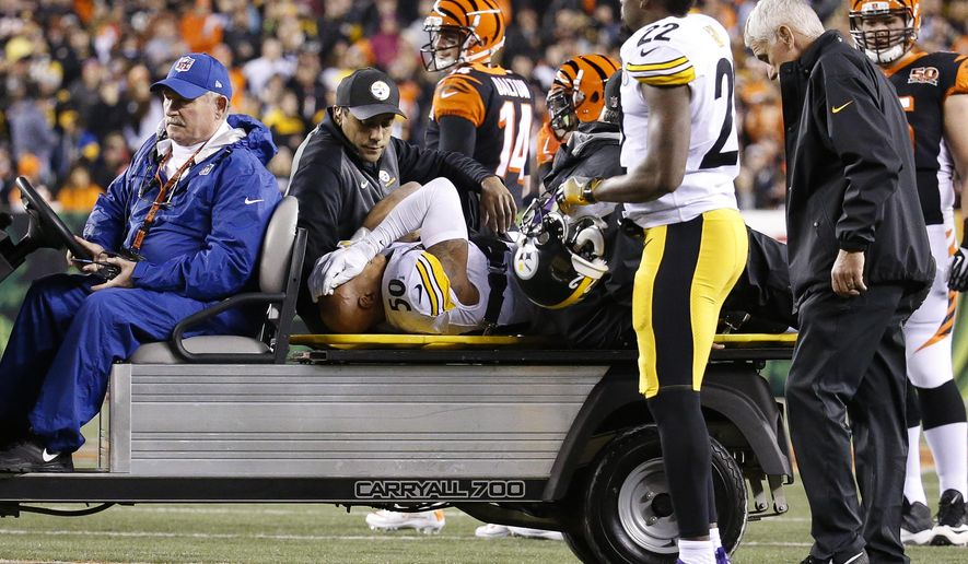 Pittsburgh Steelers inside linebacker Ryan Shazier (50) is carted off the field after an apparent injury in the first half of an NFL football game against the Cincinnati Bengals, Monday, Dec. 4, 2017, in Cincinnati. (AP Photo/Frank Victores)