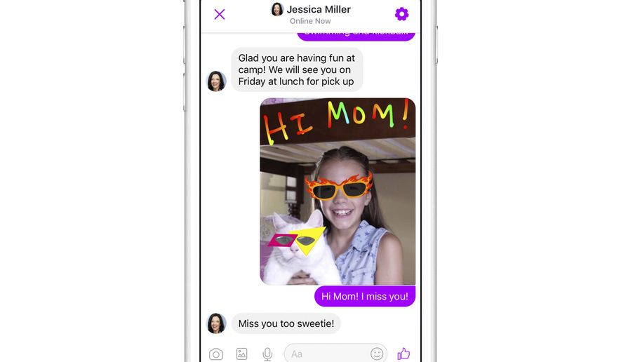 This photo provided by Facebook demonstrates Facebook's new Messenger app for kids on an iPhone. Facebook is launching the messaging app for children to chat with their parents and with friends approved by their parents. The free app is aimed at kids under 13, who can't yet have their own accounts under Facebook's rules, though they often do. (Courtesy of Facebook via AP)