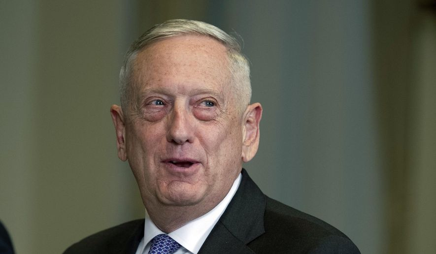 In this Nov. 30, 2017, file photo, Defense Secretary Jim Mattis responds to a reporter's question during a meeting with Libyan Prime Minister Fayez Serraj at the Pentagon. (AP Photo/Cliff Owen) ** FILE **