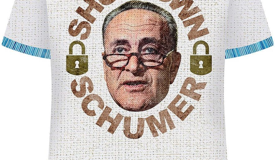 Shutdown Schumer T-shirt Illustration by Greg Groesch/The Washington Times
