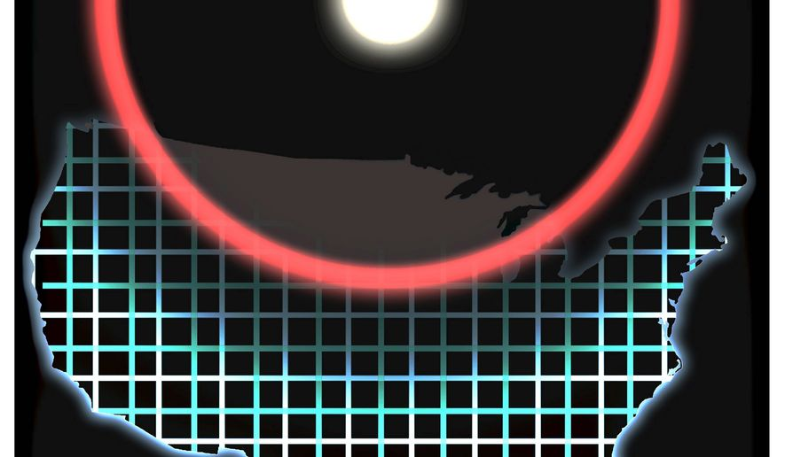 Illustration on the danger of an EMP attack by Alexander Hunter/The Washington Times