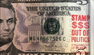Ice cream moguls Ben Cohen and Jerry Greenfield hope to protest GOP tax reform by stamping political messages on paper money. (StampStampede.org)