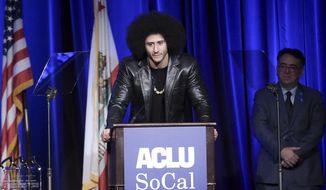 Colin Kaepernick attends the 2017 ACLU SoCal's Bill of Rights Dinner at the Beverly Wilshire Hotel on Sunday, Dec. 3, 2017, in Beverly Hills, Calif. (Photo by Richard Shotwell/Invision/AP) **FILE**