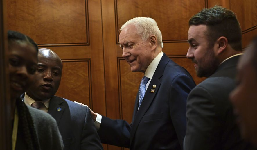 Sen. Orrin Hatch, R-Utah, gets on an elevator on Capitol Hill in Washington, Tuesday, Dec. 5, 2017. (AP Photo/Susan Walsh) ** FILE **