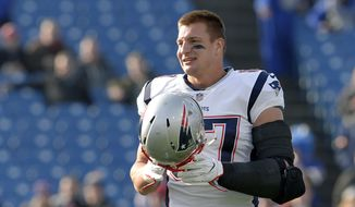 New England Patriots tight end Rob Gronkowski (87) seen on the field prior to an NFL football game against the Buffalo Bills, Sunday, Dec. 3, 2017, in Orchard Park, N.Y. (AP Photo/Adrian Kraus)