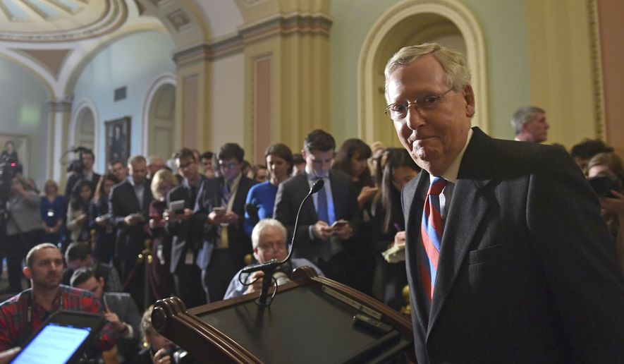 Senate Majority Leader Mitch McConnell of Ky., finishes speaking to reporters on Capitol Hill in Washington, Tuesday, Dec. 5, 2017, following the Republican's weekly policy luncheon. (AP Photo/Susan Walsh)