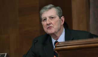 Sen. John Kennedy, R-La., speaks during a meeting of the Senate Banking Committee on Capitol Hill in Washington, Tuesday, Dec. 5, 2017, as members of the committee prepare to vote on Jerome Powell to be Federal Reserve System Chairman of the Board of Governors. (AP Photo/Susan Walsh) ** FILE **