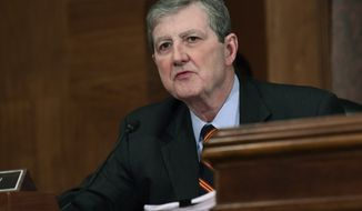 Sen. John Kennedy, R-La., speaks during a meeting of the Senate Banking Committee on Capitol Hill in Washington, Tuesday, Dec. 5, 2017, as members of the committee prepare to vote on Jerome Powell to be Federal Reserve System Chairman of the Board of Governors. (AP Photo/Susan Walsh)