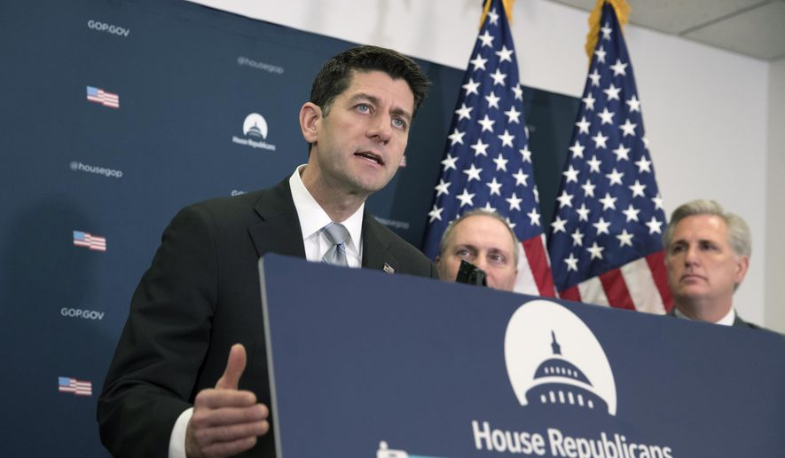 From left, Speaker of the House Paul Ryan, R-Wis., House Majority Whip Steve Scalise, R-La., and Majority Leader Kevin McCarthy, R-Calif., meet with reporters after House Republicans held a closed-door strategy session as the deadline looms to pass a spending bill to fund the government by week's end, on Capitol Hill in Washington, Tuesday, Dec. 5, 2017. (AP Photo/J. Scott Applewhite)