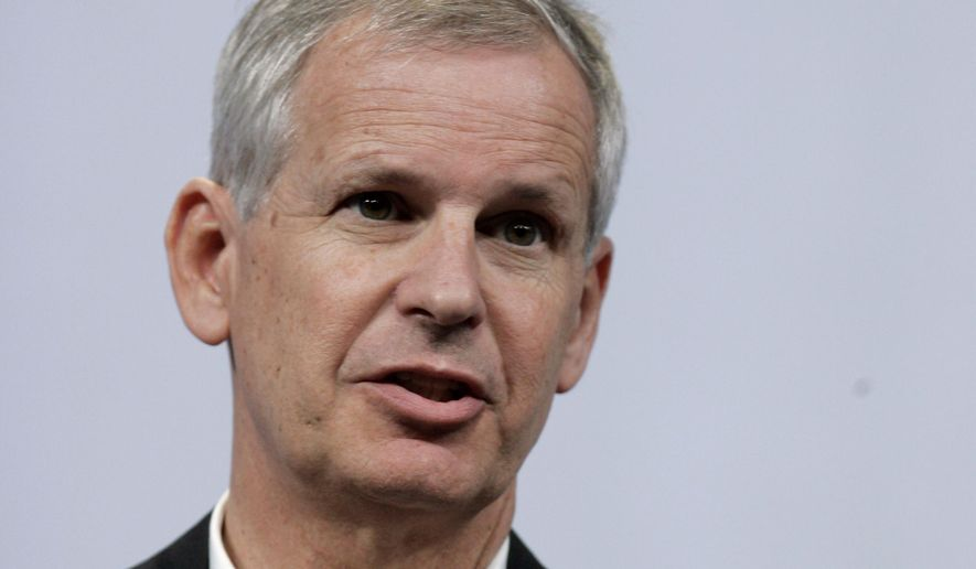FILE - In this Thursday, May 20, 2010, file photo, Dish Network CEO Charles Ergen speaks at the Google conference in San Francisco. Ergen, the founder of satellite TV company Dish, is stepping aside as CEO to focus on the company's wireless business, but he will remain chairman. The new CEO, Dish Network Corp. president Erik Carlson, will report to Ergen. (AP Photo/Paul Sakuma, File)