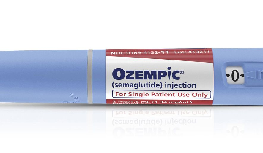 This photo provided by Novo Nordisk shows an injection pen of the company's drug Ozempic. On Tuesday, Dec. 5, 2017, the Food and Drug Administration approved the new, long-acting diabetes drug that reduces blood sugar levels and also helps people lose significant weight. (Novo Nordisk via AP)