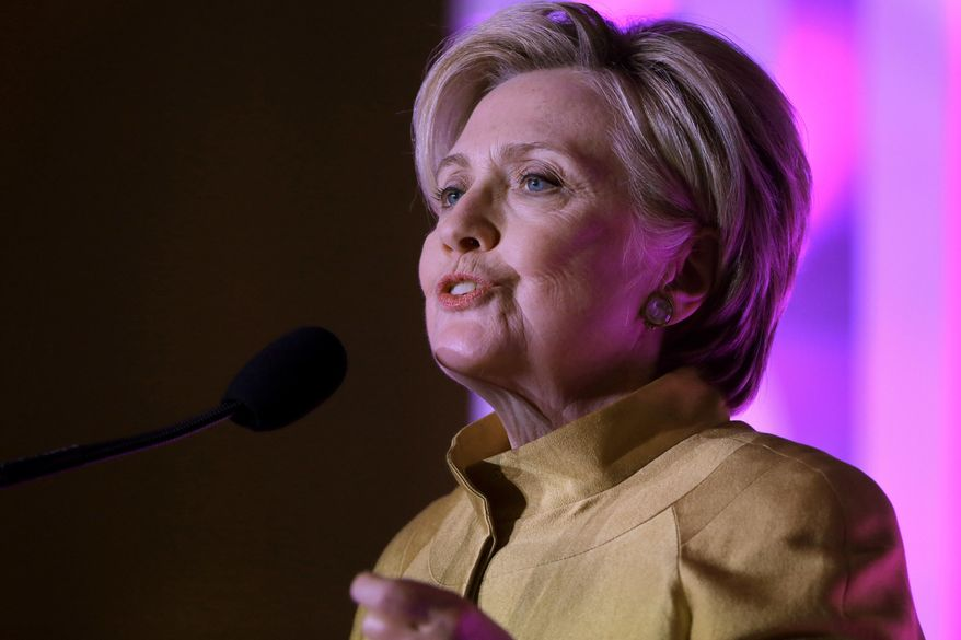 Former Secretary of State Hillary Clinton speaks during a fundraising event for Big Sister Association of Greater Boston, Tuesday, Dec. 5, 2017, in Boston. Clinton was presented with the organization's Believe in Girls award during the event. (AP Photo/Steven Senne)