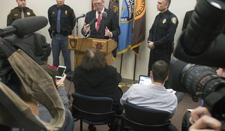 Saline County Sherrif Alan Moore, from left, State patrol Superintendent, Col. John Bolduc, FBI agent Randy Thysse and Lincoln Police Chief Jeff Bliemeister hold a news conference about developments in the disappearance of Sydney Loofe on Tuesday, Dec. 5, 2017, at the Justice and Law Enforcement Center in Lincoln, Neb. Authorities say a body believed to be that of Loofe missing since Nov. 16, has been found in southeast Nebraska's Clay County. Thysee said positive identification awaits autopsy results. (Eric Gregory/The Journal-Star via AP)